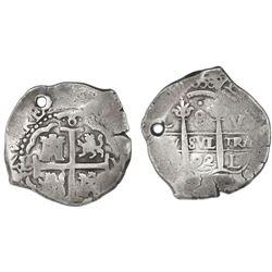 Lima, Peru, cob 8 reales, 1692V.