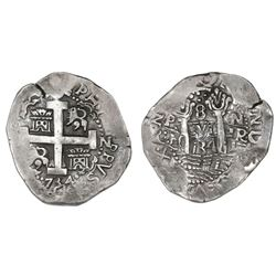 Lima, Peru, cob 8 reales, 1734N.