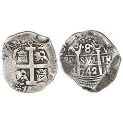 Lima, Peru, cob 8 reales, 1742V, Calbeto Plate Coin.
