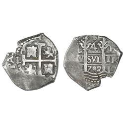 Lima, Peru, cob 4 reales, 1702H.