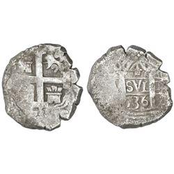 Lima, Peru, cob 4 reales, 1736(N).