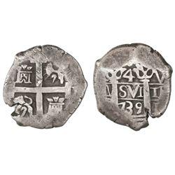 Lima, Peru, cob 4 reales, 1739V.