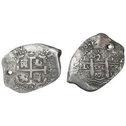 Lima, Peru, cob 2 reales, 1708H.