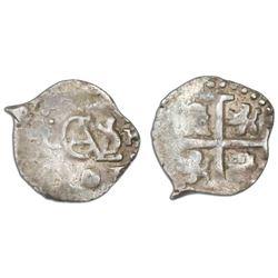 Lima, Peru, cob 1/2 real, 1701H, Charles II posthumous.