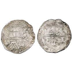 Potosi, Bolivia, cob 8 reales, Philip II, assayer A, PCGS AU58.