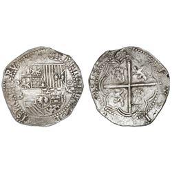 Potosi, Bolivia, cob 8 reales, Philip II, assayer B (4th period), NGC AU 55.