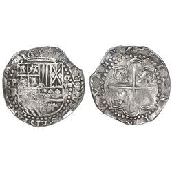 Potosi, Bolivia, cob 8 reales, Philip II, assayer RL, NGC XF 40.