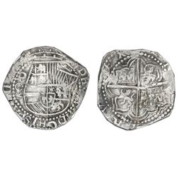 Potosi, Bolivia, cob 8 reales, Philip III, assayer Q, NGC XF 45.