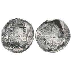 Potosi, Bolivia, cob 8 reales, 1617M, reverse legend rotated 90 degrees counterclockwise.