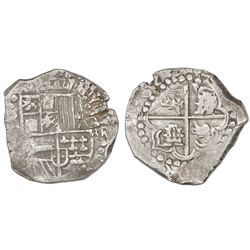 Potosi, Bolivia, cob 8 reales, 1622, assayer not visible (T or P), lions and castles transposed in c