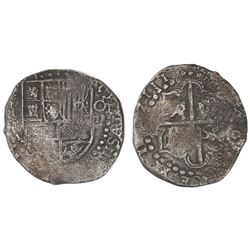 "Potosi, Bolivia, cob 8 reales, 1623 with date rendered as ""16ZIII"" (rare), assayer not visible, ex-C"