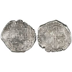 """Potosi, Bolivia, cob 8 reales, possible 1624 with date rendered as """"16ZIIII,"""" assayer P (P+P), quadr"""