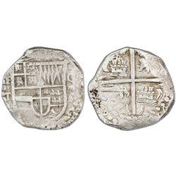 Potosi, Bolivia, cob 8 reales, Philip IV, assayer T (1629), denomination oVIII, heavy-dot borders.