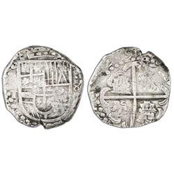 Potosi, Bolivia, cob 8 reales, (16)29T, denomination dot-8-dot, heavy-dot borders.