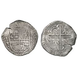 Potosi, Bolivia, cob 8 reales, (162)9T, reverse legend rotated 180 degrees, denomination 8, fine-dot