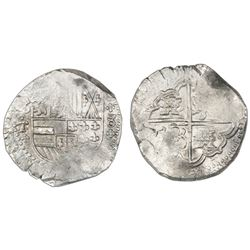 Potosi, Bolivia, cob 8 reales, Philip IV, assayer T with cross-fleury ornaments (ca. 1631), ex-Conce