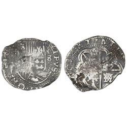 Potosi, Bolivia, cob 8 reales, 1634T, rare, ex-Rudman.
