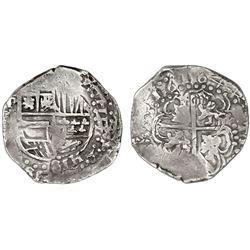 Potosi, Bolivia, cob 8 reales, 1644, assayer not visible, rare.
