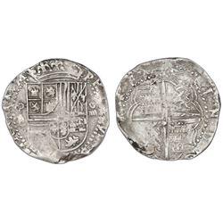 Potosi, Bolivia, cob 4 reales, Philip II, assayer B/A (4th period), very rare.