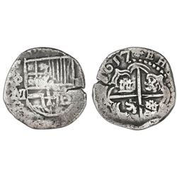Potosi, Bolivia, cob 2 reales, 1617M.