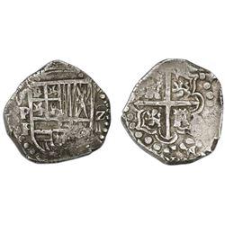 Potosi, Bolivia, cob 2 reales, (1626)P, denomination Z over o-IIII (error), rare.