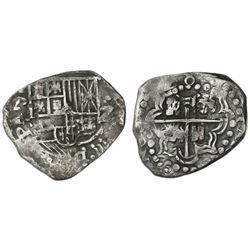 Potosi, Bolivia, cob 2 reales, (16)28, assayer not visible (T or P), rare, ex-Concepcion (1641), ex-