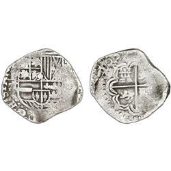 Potosi, Bolivia, cob 2 reales, 1638TR, very rare.