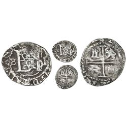 Potosi, Bolivia, cob 1/2 real, Philip II, assayer B (5th period) to left, mintmark P to right, borde