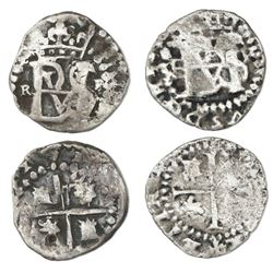 Lot of two Potosi, Bolivia, cob 1/2R, Philip II, both with mintmark P to right: assayer R (tiny) to