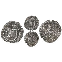 Potosi, Bolivia, cob 1/4 real, Philip III, no assayer, shield around castle, large lion without shie