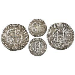 Potosi, Bolivia, cob 8 reales Royal (galano), 1657E, pomegranate at top on both sides, with Guatemal