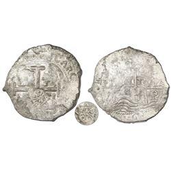 Potosi, Bolivia, cob 8 reales, 1670E, with  Golden Fleece  countermark (Brabant, Spanish Netherlands