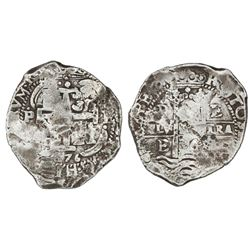 Potosi, Bolivia, cob 8 reales, 1676E, Calbeto Plate Coin.