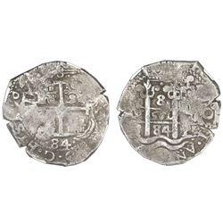 Potosi, Bolivia, cob 8 reales, 1684V, NGC VF 20.