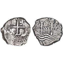 Potosi, Bolivia, cob 8 reales, 1700F, NGC VF 25.