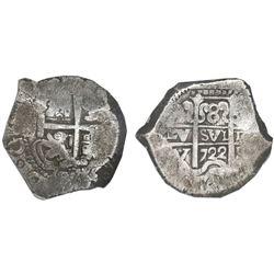 Potosi, Bolivia, cob 8 reales, 1722Y, NGC VF 20.