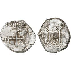 Potosi, Bolivia, cob 8 reales, 1737E, NGC AU details / cleaned.