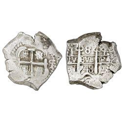 Potosi, Bolivia, cob 8 reales, 1748q, NGC XF 45.