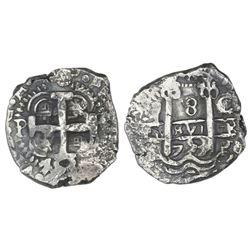 Potosi, Bolivia, cob 8 reales, 1753C/q, NGC XF details / cleaned.