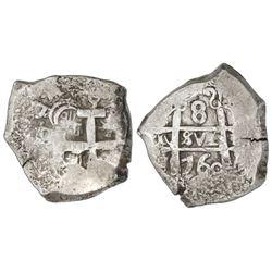Potosi, Bolivia, cob 8 reales, 1760Y-q-(V) (Ferdinand VI), very rare.