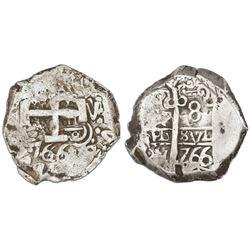 Potosi, Bolivia, cob 8 reales, 1766V-Y, NGC VF 35.