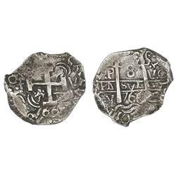 Potosi, Bolivia, cob 8 reales, 1766V-Y.