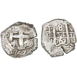 Potosi, Bolivia, cob 8 reales, 1767V-Y, NGC XF 45.