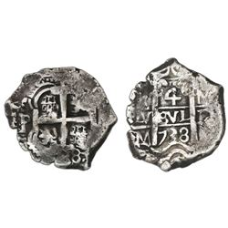 Potosi, Bolivia, cob 4 reales, 1738M.