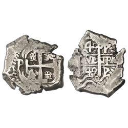 Potosi, Bolivia, cob 4 reales, 1742P, rare.