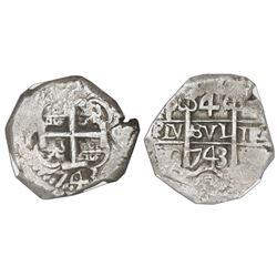 Potosi, Bolivia, cob 4 reales, 1743C, NGC AU 55.