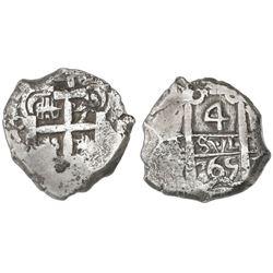 Potosi, Bolivia, cob 4 reales, 1765V-Y.