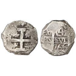 Potosi, Bolivia, cob 4 reales, 1766(V)-Y.