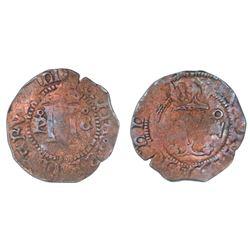 Santo Domingo, Dominican Republic, copper 4 maravedis, Charles-Joanna, mintmark oP-oS (very rare), a