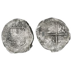 Bogota, Colombia, cob 8 reales, 1646, assayer R below vertical denomination VIII to left, rare.